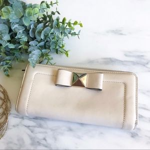 Nude Leather Kate Spade Bow Wallet